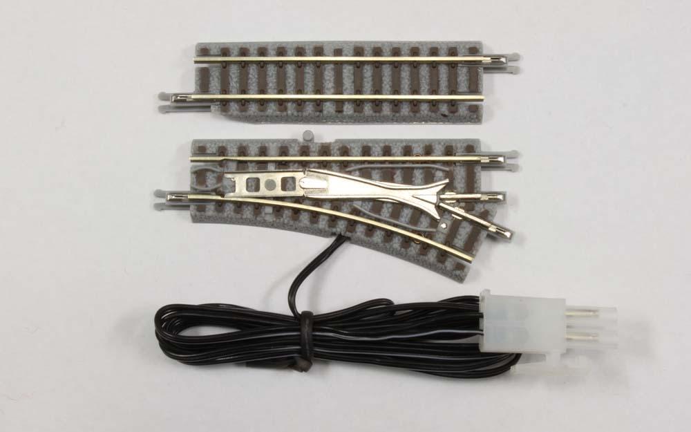 R023 電動/手動ポイントレール 55mm R127-26° 右分岐(55mmカットレール 1本付き)