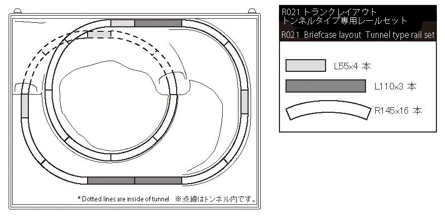 R021 トランクレイアウト トンネルタイプ専用レールセット